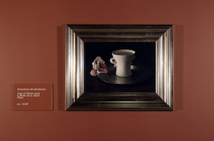 Francisco de Zurberan: Cup of water and a rose on a silver plate, ca 1633